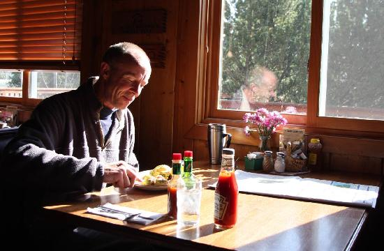 Echo Lake Cafe Customer eating the Best Breakfast in Montana
