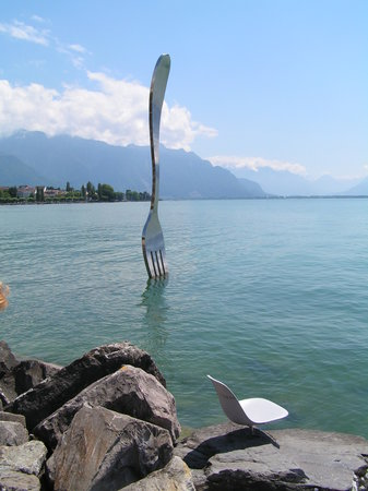 Alimentarium - Food Museum: The Fork in Lac Leman, outside the museum
