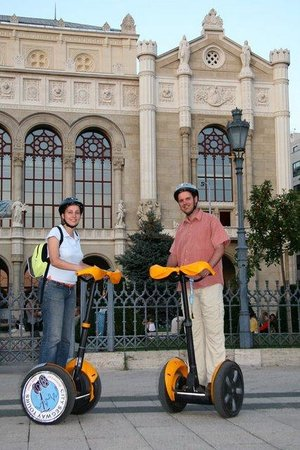 Discover Budapest: Both of us in front of the Vigadó