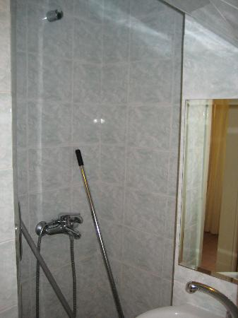 Grand Leoniki: A very narrow shower on the first floor