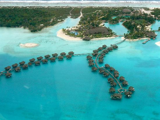 Four Seasons Resort Bora Bora: Aerial View or Reasort from our Helicopter