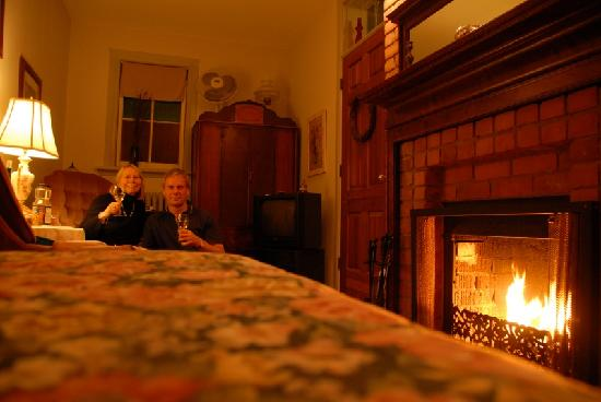 Inn on Somerset: Enjoying a glass of wine in front of our fireplace