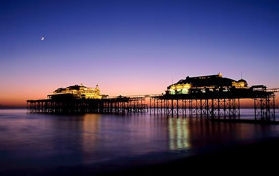 Brighton, UK: West Pier on a rare calm night