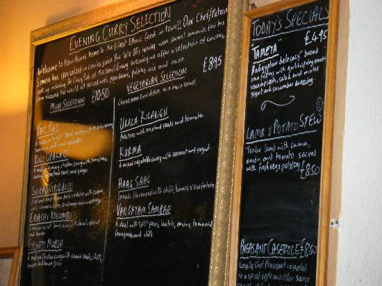 Hawthorns Hotel, Bar and Restaurant: Amazing curry menu