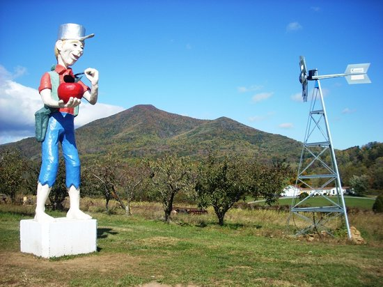 Bedford, VA: Johnny Appleseed staute and view of Peaks of Otter from Johnson's Orchard