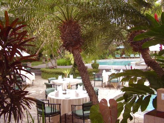 Hotel Vila Lumbung: poolside dining