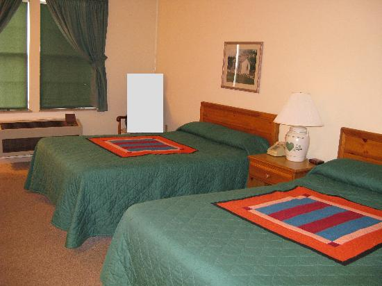 The Inn at Amish Acres: Our hotel room (again, the gray box used to be me)