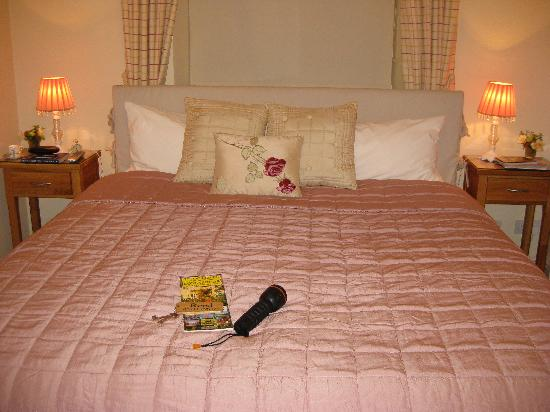 The Old School Bed and Breakfast: Our room, a torch for the walk to a nearby pub, and a map of the area