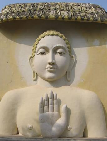 Andhra Pradesh, India: Mahavir Wall Art at Kolanpak