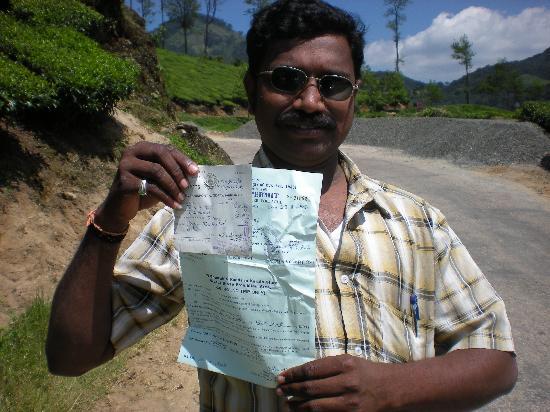 Valparai, India: Driver Jagadeesh with Kerala permit