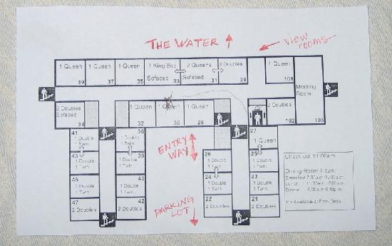 Wakulla Springs, FL: Map of Rooms - Be sure to get one facing the water.