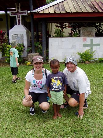 Adventures in Paradise Fiji: Us with one of the village kids