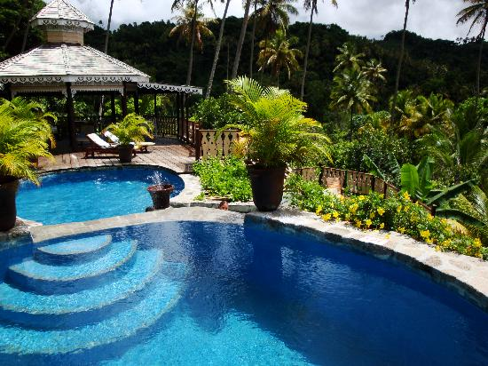 Fond Doux Plantation & Resort: The higher two of the three pools