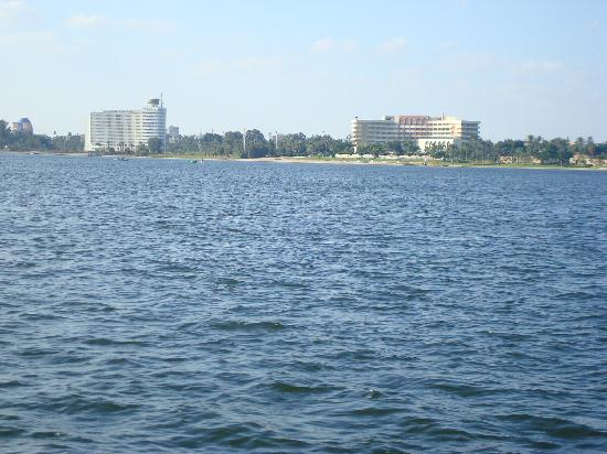 Ismailia, Egypt: The Mercure Forsan (right) and SCO Headquarters seen from our boat on Lake Timsah