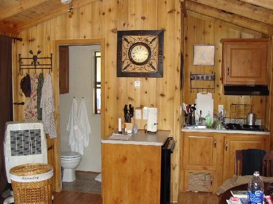 Ranch Champagne: Inside Cabin #3 Kitchen Bathroom Side