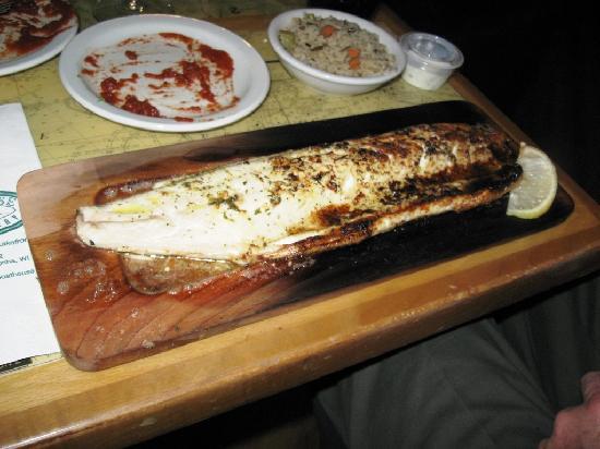 The Boathouse: Cedar Plank Baked White fish at the Boat House in Kenosha