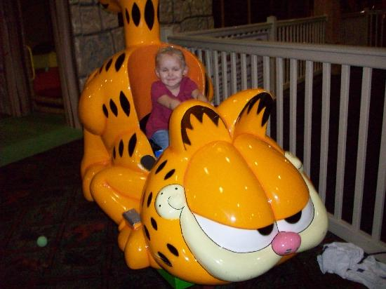 Glacier Canyon Lodge: my 3 yr old riding garfield