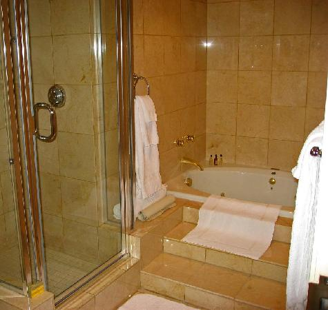 Visalia Marriott at the Convention Center: Bath shower and spa tub.