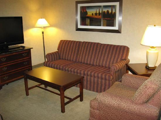 DoubleTree by Hilton Pleasant Prairie Kenosha: Main lounge area in executive suite at Radisson Kenosha