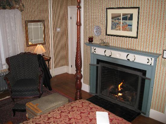 Hawthorne Inn: by the fireplace with a good book- it's easy to slip back in time