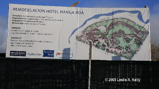 ‪‪Hotel Hangaroa Eco Village & Spa‬: Remodel Notice At Work Site of New Hotel Hanga Roa Now Under Construction‬