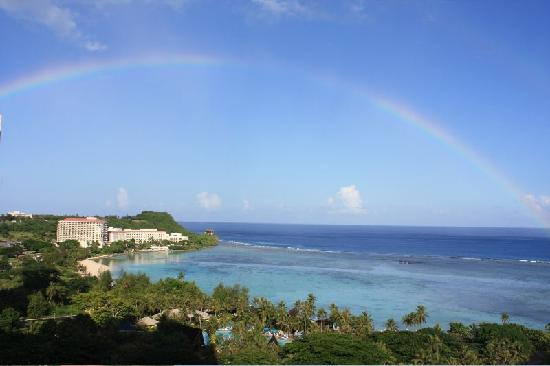 Pacific Islands Club Guam: View from our hotel veranda. Rainbow after the rain