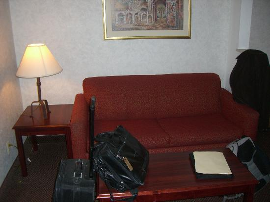 Comfort Suites Newark: Couch & coffee table area