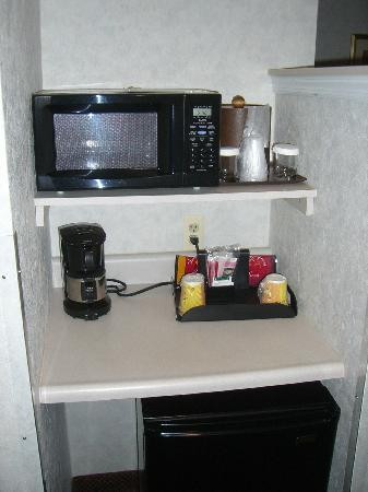 Comfort Suites Newark: Refrigerator & microwave between couch and bathroom