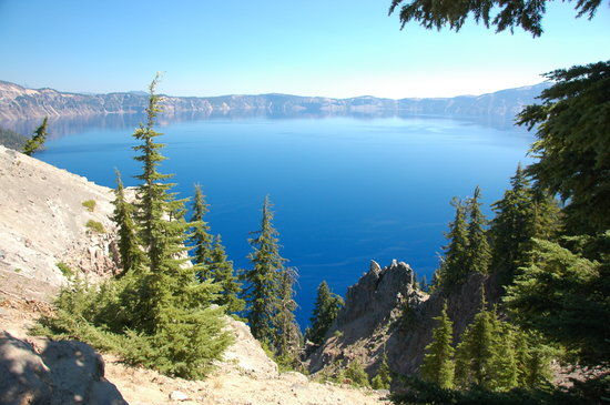 Crater Lake National Park, OR: the best pic I could get of the whole lake