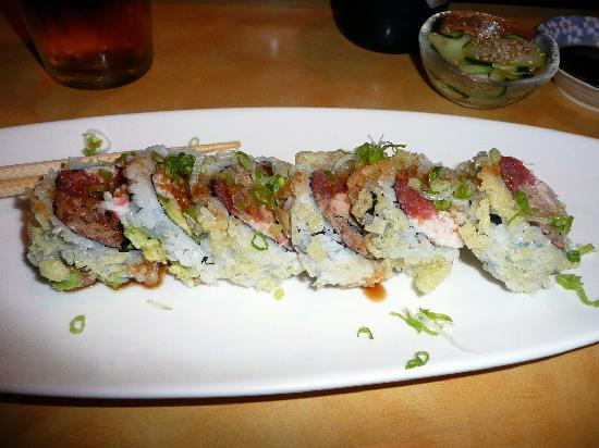 Sushi Bistro: Spicy tuna, crab meat, avocado & grilled big eye tuna in a crispy exterior drizzled w/ bonito sa