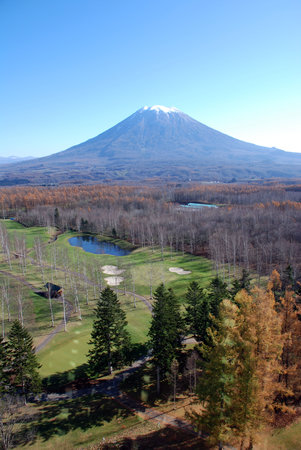 Niseko, Japan: the golf course outside window - day view