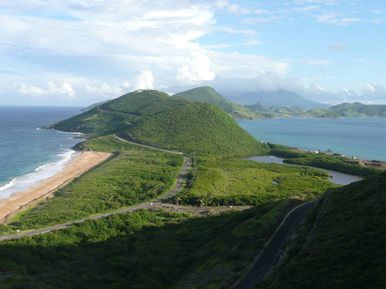 Saint Kitts: From Frigate Bay area looking south to Nevis