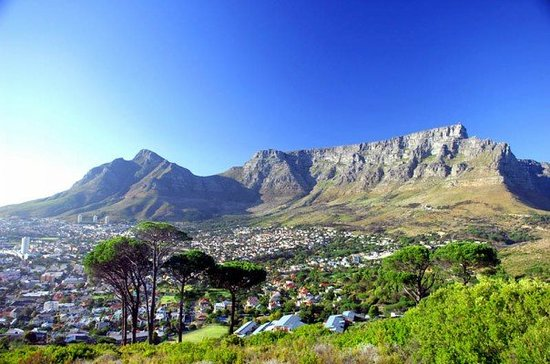 Cape Town Central, South Africa: Table Mountain as seen from Signal Hill