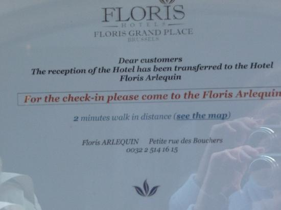 Floris Grand Place: Notice on Door