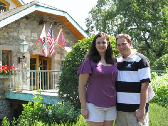 Far Niente Winery: My husband and I in front of the entrance to the winery.