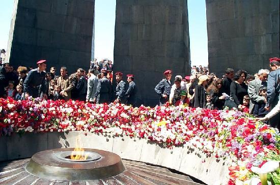 Tsitsernakaberd: Armenian Genocide Memorial on April 24 (Copyright Raffi Kojian)