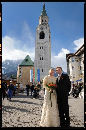 Hotel des Alpes: This is us in the centre of town just after being married in Cortina!