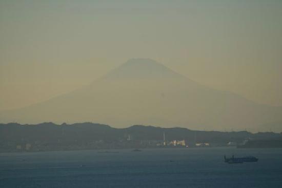 Mt Fuji from Tokyo Wan Kannon, across Tokyo Bay and the Uraga ship passage