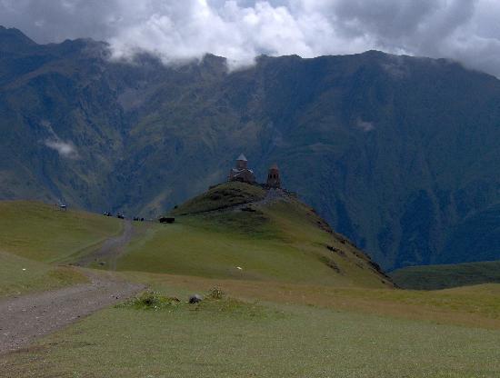 Georgia: Church near the path to Kazbek