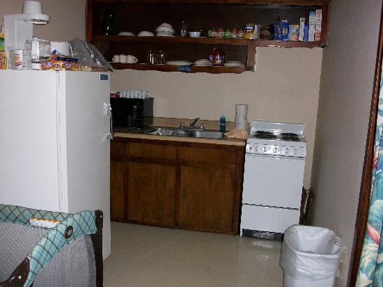 Sea Ranch Motel: kitchen was stocked with dishes and cookware