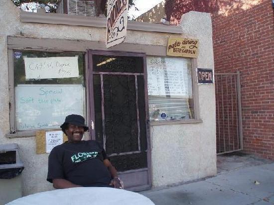 Rodney's: Rodney in front of his namesake resturant