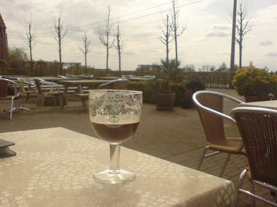 A glass of Westvleteren 12, served at the café opposite to the brewery