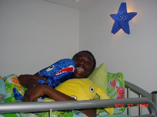 Holiday Inn Express Hotel & Suites - Veteran's Expressway : My Big Baby! Complained about 'kiddie stuff' but look at him!