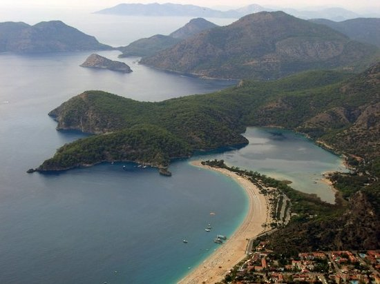 Ολουντενίζ, Τουρκία: Olu Deniz beach view from Paragliding