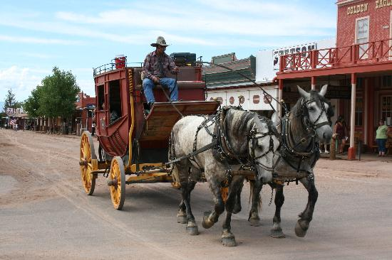 O.K. Corral: Horses and carriage in Tombstone, Arizona