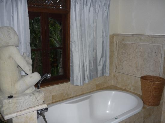 Alam Shanti: stone carvings at bathtub