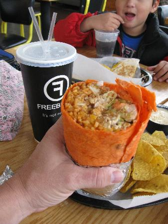 monster size burrito revved up with chips amp queso at