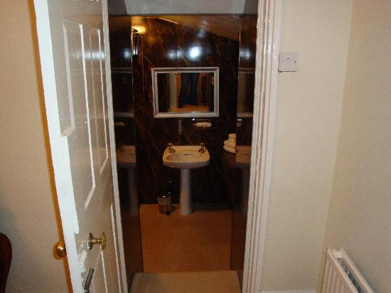 Caistor Hall Hotel: down into the bathroom