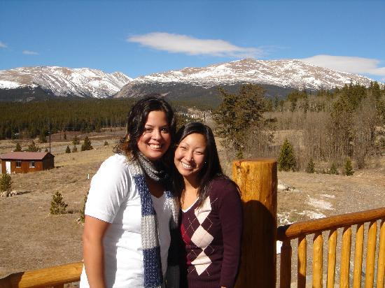Jennifer and Tori from the mountain facing deck at Mountain Comfort Bed & Breakfast