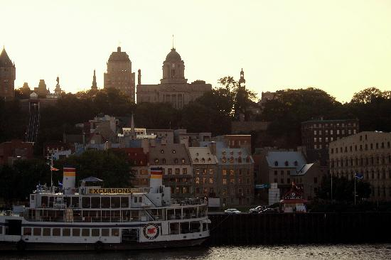 Quebec - Levis Ferry: View of Quebec City Waterfront from the Ferry at Dusk